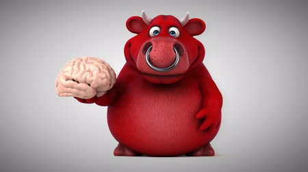 bull ring : Cartoon red bull with a brain