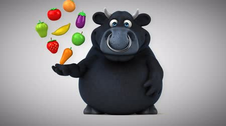 bull ring : Cartoon red bull with fruits and vegetables