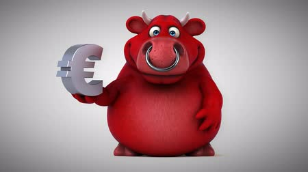 bull ring : Cartoon red bull with Euro sign Stock Footage