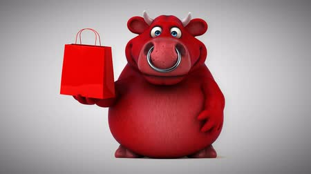 bull ring : Cartoon red bull with shopping bag Stock Footage