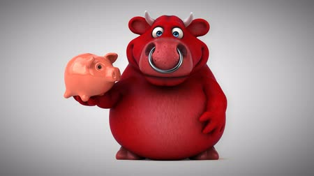 bull ring : Cartoon red bull with piggy bank