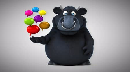 bull ring : Cartoon black bull with speech bubbles Stock Footage