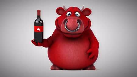 bull ring : Cartoon red bull with wine bottle Stock Footage