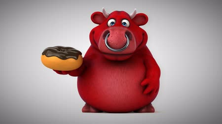 bull ring : Cartoon red bull with donut Stock Footage
