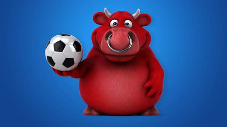 bulls balls : Cartoon red bull with a soccer ball