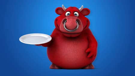 bull ring : Cartoon red bull with a plate