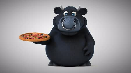 bull ring : Cartoon black bull with a pizza