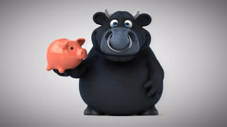 bull ring : Cartoon black bull with piggy bank Stock Footage