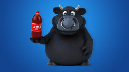 bull ring : Cartoon black bull with soda bottle Stock Footage