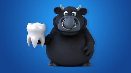 bull ring : Cartoon black bull with a tooth