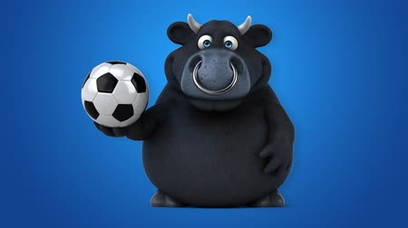 bulls balls : Cartoon black bull soccer ball