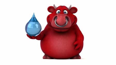 bull ring : Cartoon red bull with water droplet