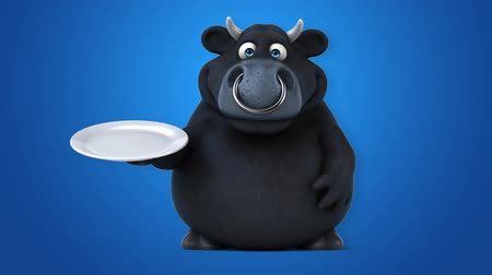 bull ring : Cartoon black bull with a plate