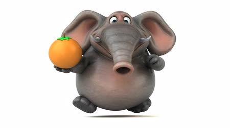 fil : Cartoon elephant holding an orange and running Stok Video