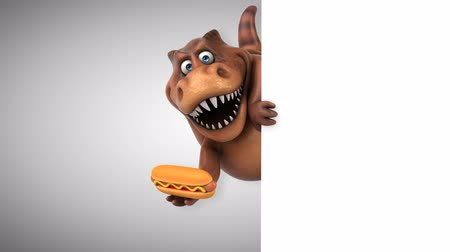 dinossauro : Cartoon trex with hotdog