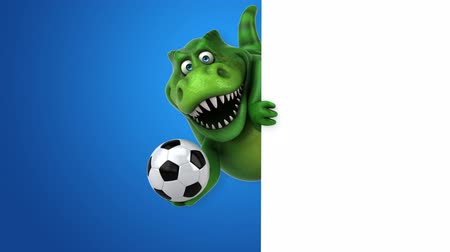 дичь : Dinosaur character appearing with a soccer ball Стоковые видеозаписи