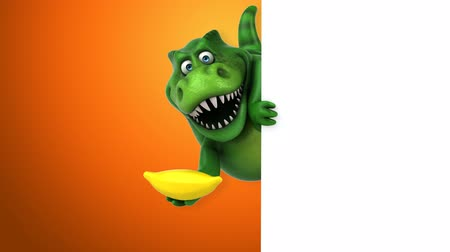tirannosauro : Cartoon trex con una banana