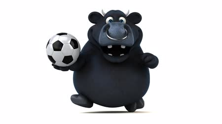 bulls balls : Cartoon bull running with soccer ball