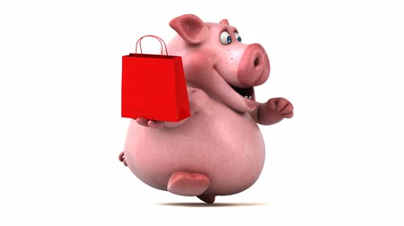 svině : Cartoon pig holding a shopping bag and running Dostupné videozáznamy