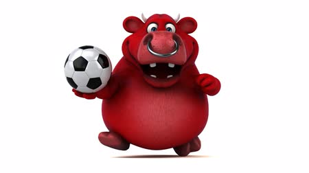 bulls balls : Cartoon red bull running with soccer ball