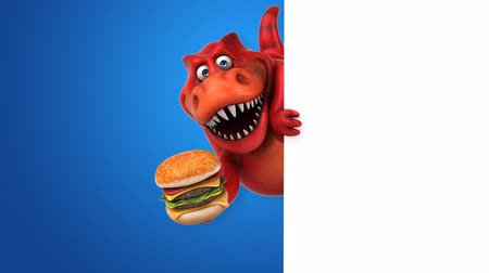 tirannosauro : Cartoon trex con un hamburger Filmati Stock
