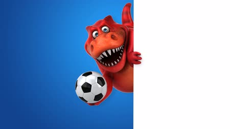 tirannosauro : Cartoon trex con pallone da calcio
