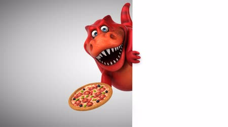 tirannosauro : Cartoon trex con una pizza