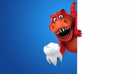 tirannosauro : Cartoon trex con un dente Filmati Stock