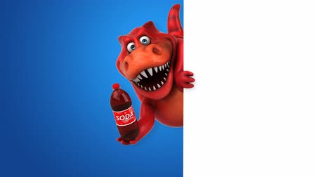 tirannosauro : Cartoon trex con bottiglia di soda