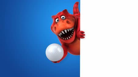 tirannosauro : Cartoon trex con pallina da golf