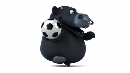 bulls balls : Bull character running with a soccer ball