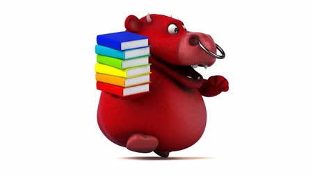 bull ring : Cartoon bull holding a stack of books and running