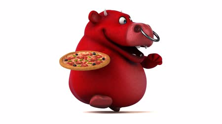 bull ring : Cartoon bull holding a pizza and running Stock Footage