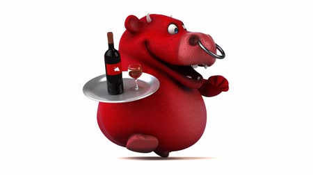bull ring : Cartoon bull holding a tray with wine and running Stock Footage