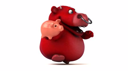 bull ring : Cartoon bull holding a piggy bank and running Stock Footage