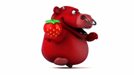 bull ring : Cartoon bull holding a strawberry and running