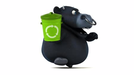 bull ring : Cartoon bull holding a recycle bin and running Stock Footage