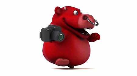 bull ring : Cartoon bull holding a camera and running Stock Footage