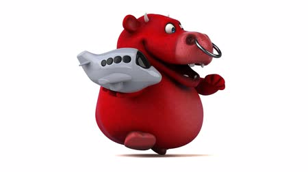 bull ring : Cartoon bull holding an airplane and running Stock Footage