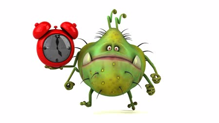 bull ring : Cartoon germ character holding an alarm clock and running