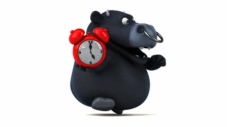 bull ring : Cartoon bull holding an alarm clock and running Stock Footage