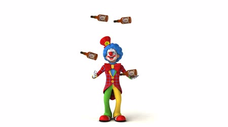 coringa : Cartoon clown is juggling whisky bottles