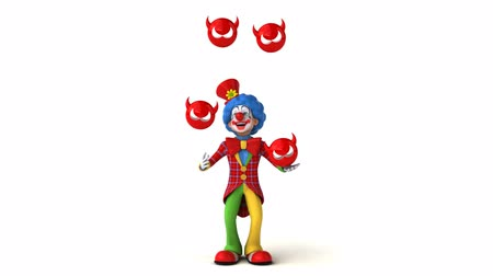 coringa : Cartoon clown is juggling devil icons Stock Footage