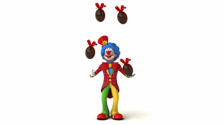 tréfacsináló : Cartoon clown is juggling chocolate Easter eggs Stock mozgókép