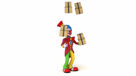 coringa : Cartoon clown juggling stack of boxes Stock Footage