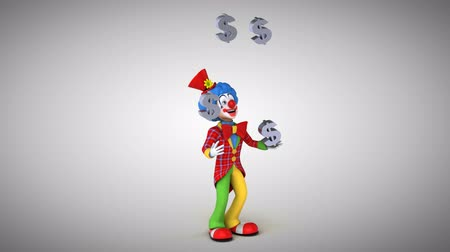 tréfacsináló : Cartoon clown juggling Dollar currency symbol Stock mozgókép