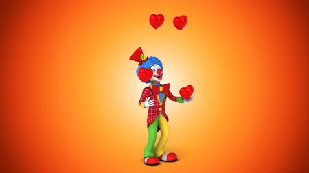 coringa : Cartoon clown juggling hearts Stock Footage