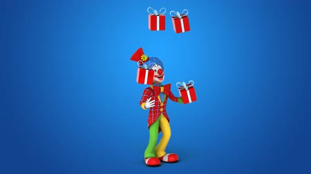 tréfacsináló : Cartoon clown juggling gift boxes