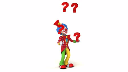 coringa : Cartoon clown juggling with question marks