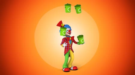 coringa : Cartoon clown juggling with recycle bins